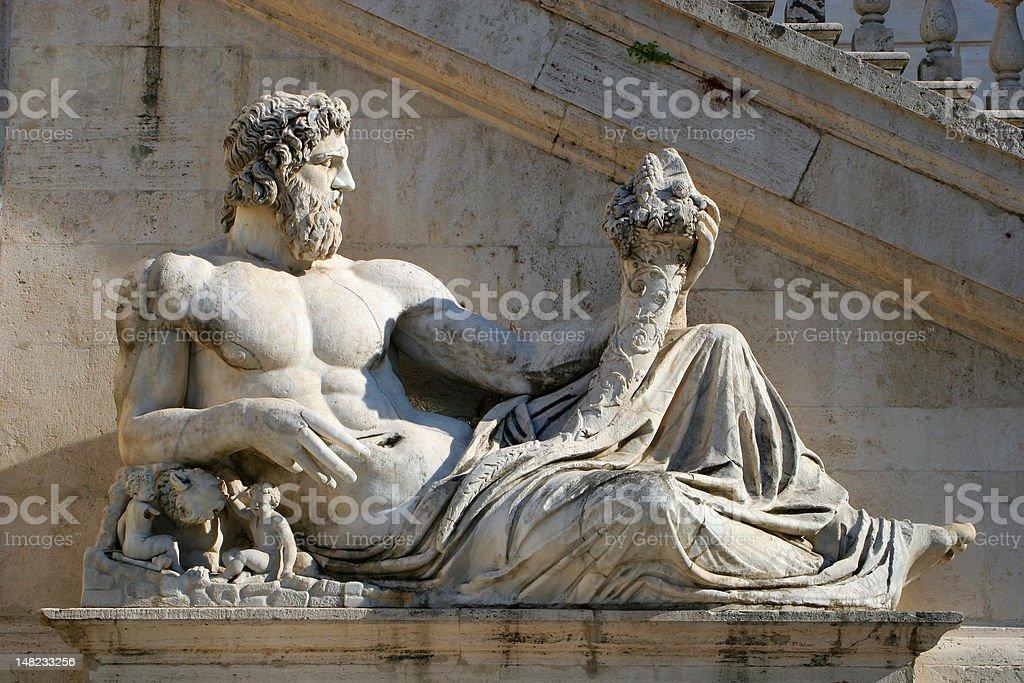 Rome - statue in Piazza del Campidoglio royalty-free stock photo