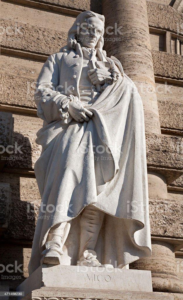 Rome - Statue of philosopher Vico from Palazzo di Giustizia stock photo