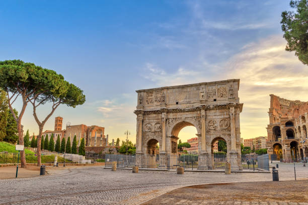 Rome sunrise city skyline at Arch of Constantine, Rome, Italy stock photo