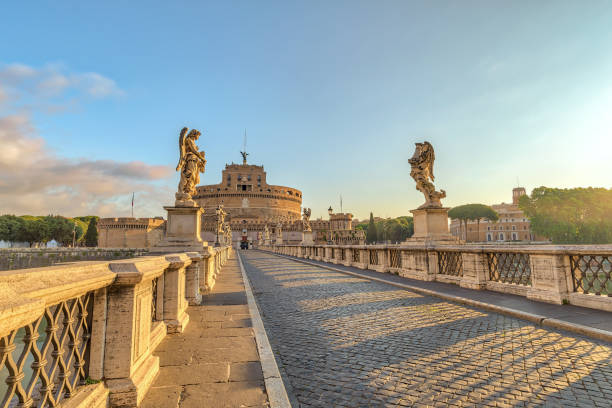 Rome sunrise city skyline at Castel Sant Angelo and Tiber River, Rome (Roma), Italy