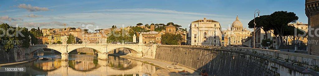 Rome sunrise St Peter's Basilica Vatican City River Tiber Italy stock photo