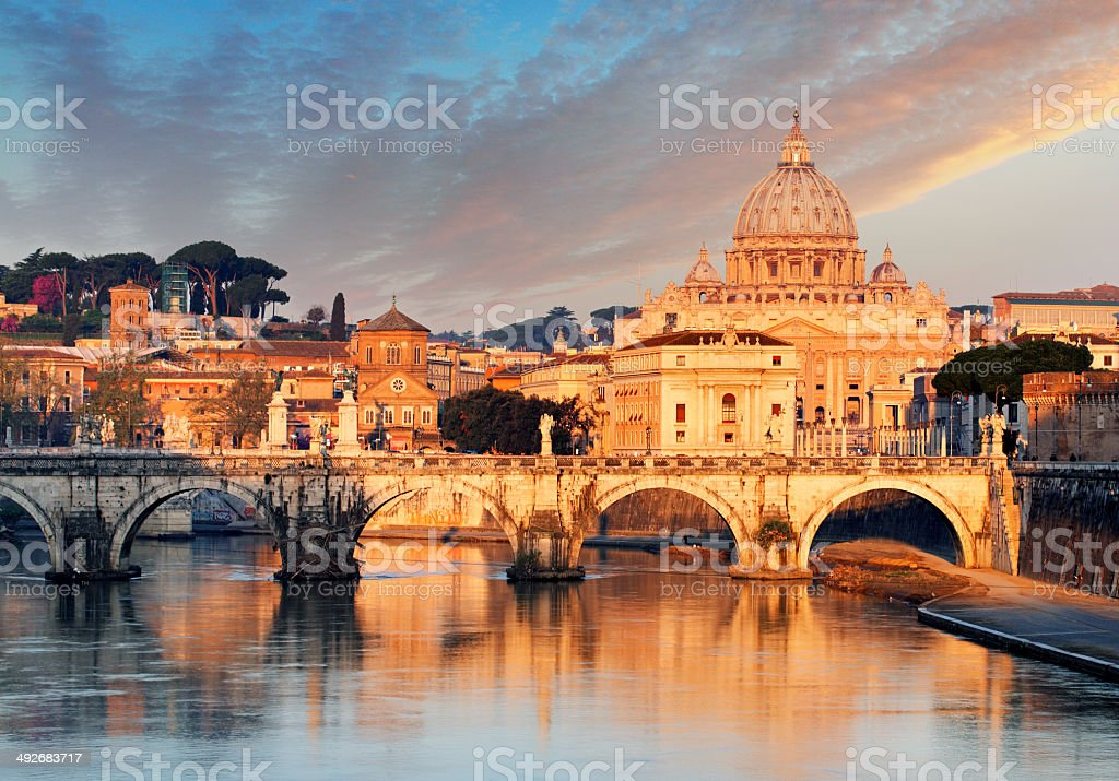 Rome sunrise , Vatican stock photo
