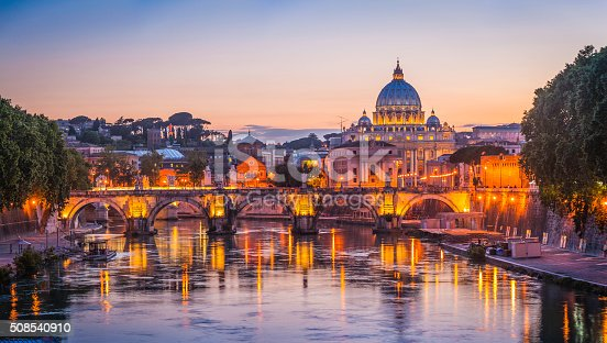 Iconic landmarks of Rome, Italy's ancient capital city, reflecting in the tranquil waters of the River Tiber. ProPhoto RGB profile for maximum color fidelity and gamut.