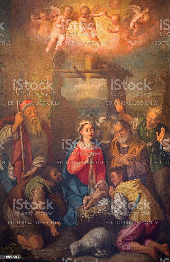 Rome - The Adoration of shepherds paint stock photo