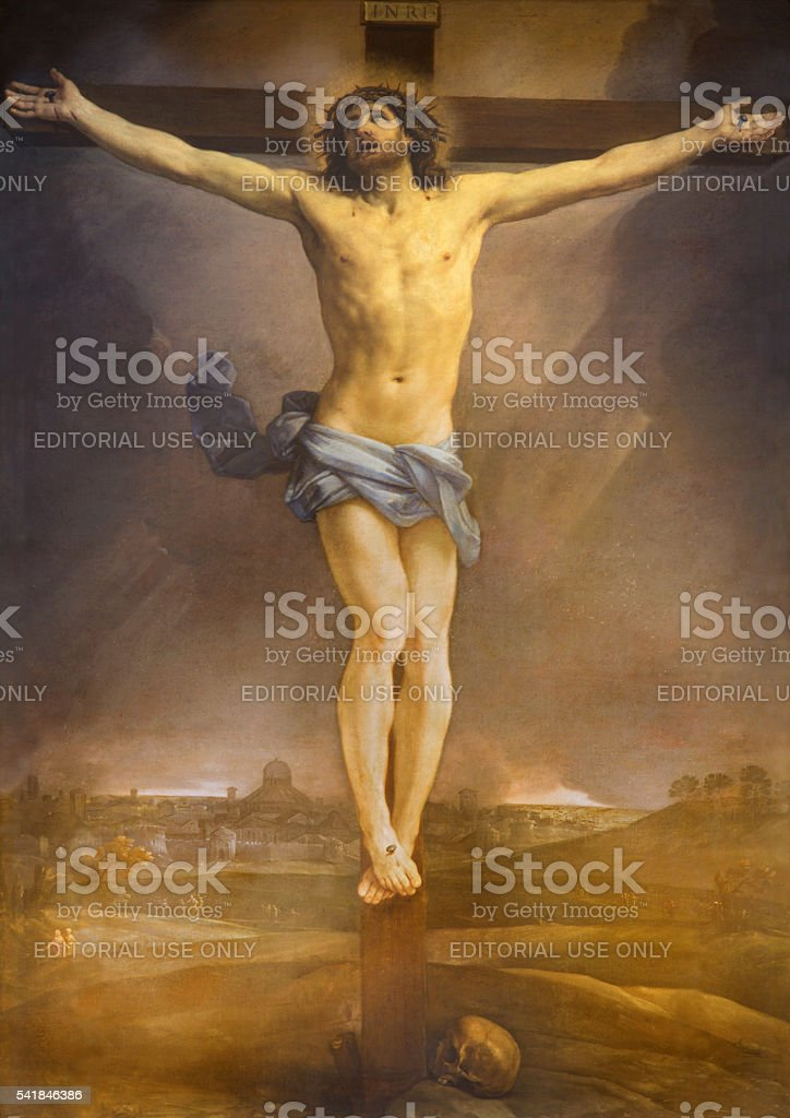Rome - The altarpiece of Crucifixion by Guido Reni stock photo