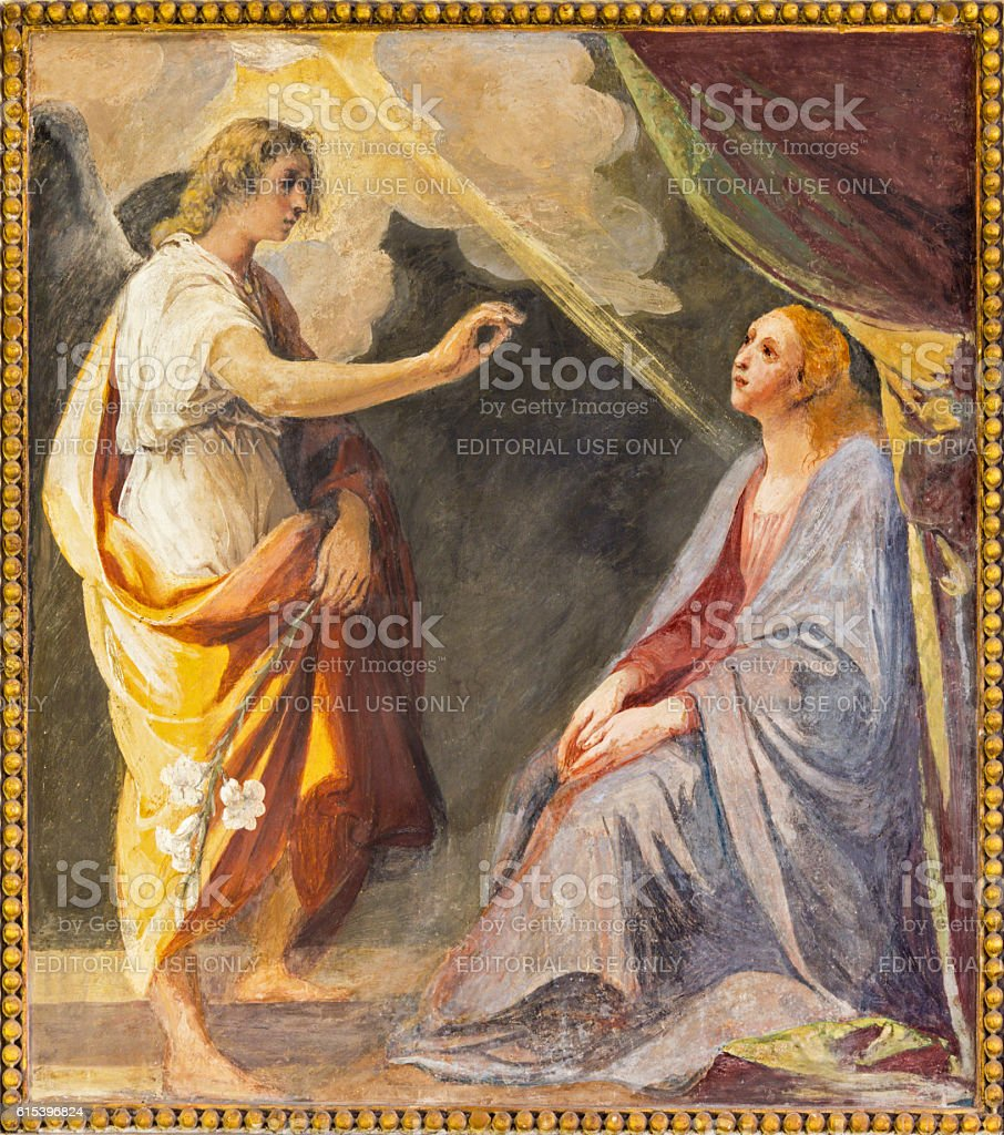 Rome - The Annunciation fresco stock photo