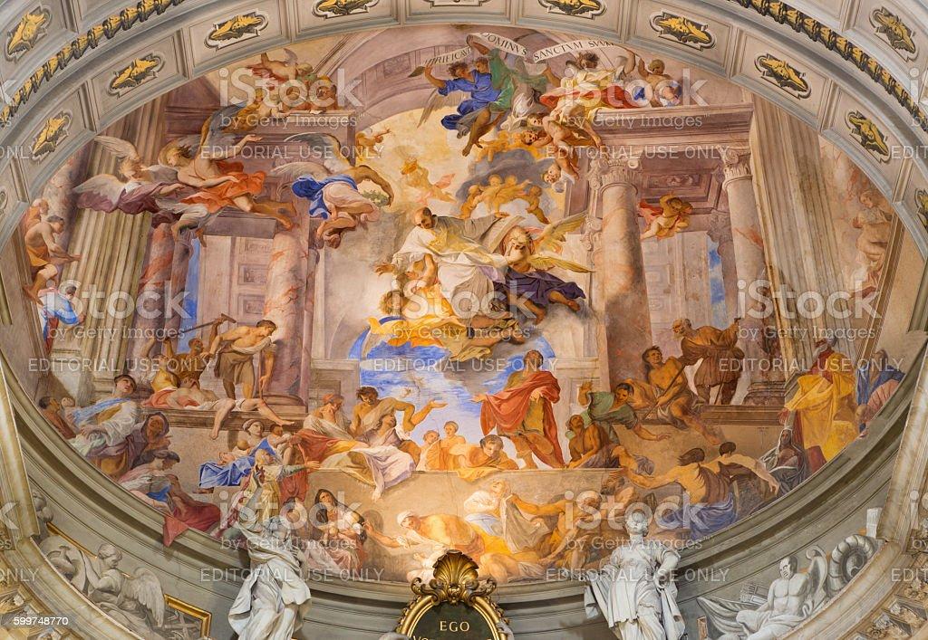 Rome - The Apotheosis of St. Ignace fresco stock photo