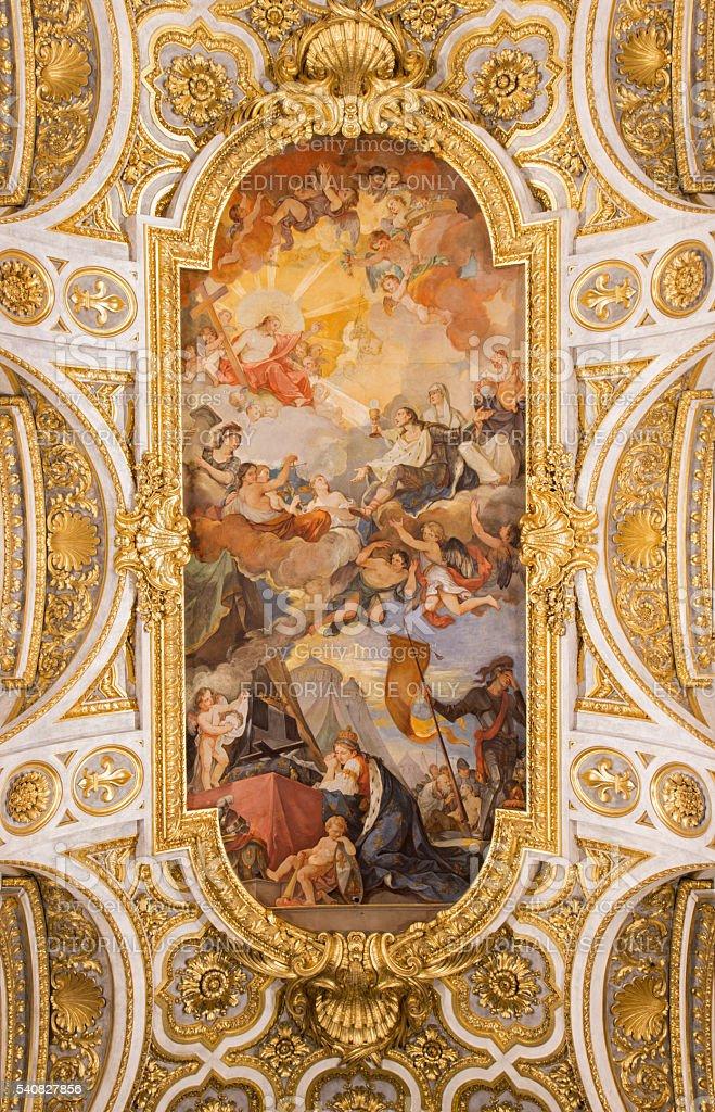 Rome - The Apotheosis of St Louis vault fresco stock photo