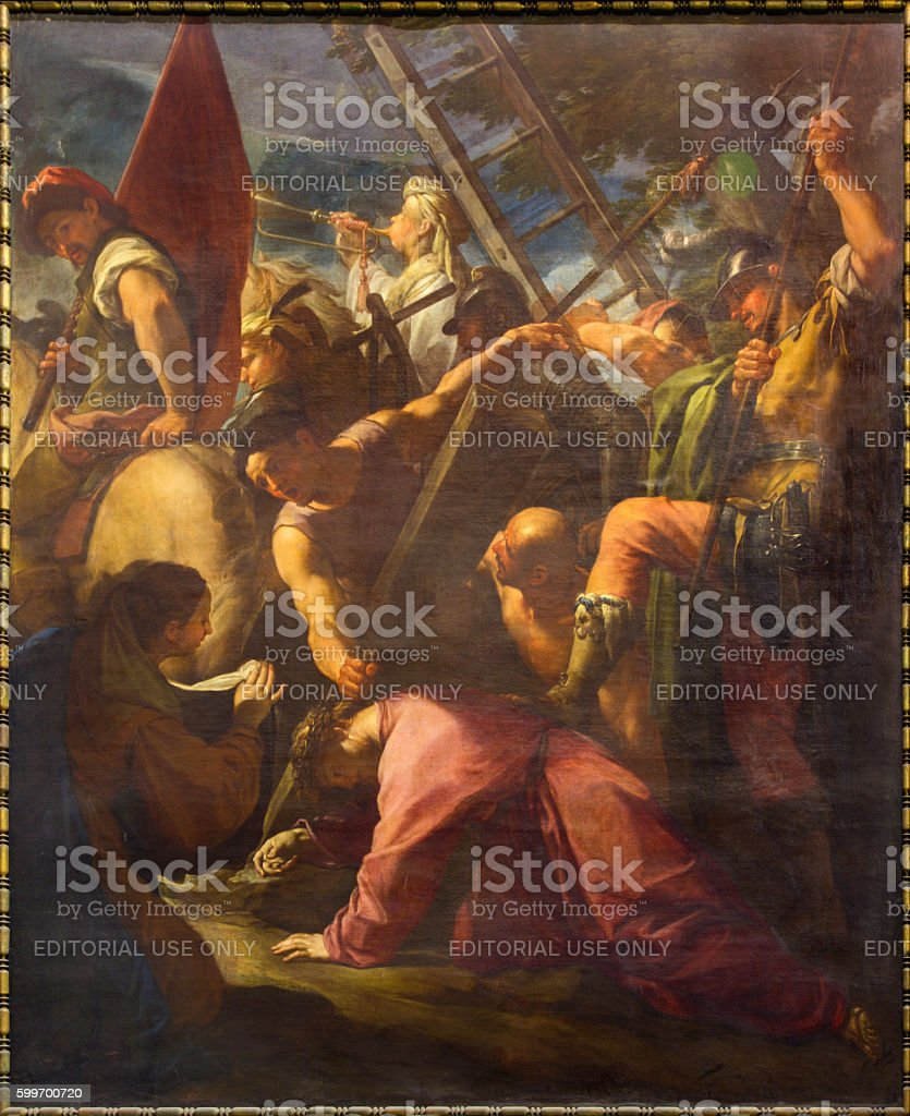 Rome - The Ascent to Calvary painting stock photo