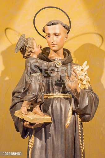 Rome -  The carved statue of St. Anthony of Padua in church Chiesa di Nostra Signora del Sacro Cuore by unknown artist.