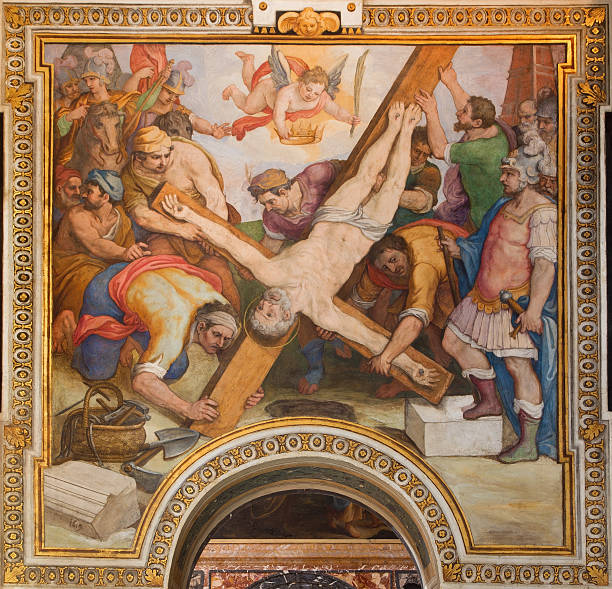 rome - the crucifixion of st. peter fresco - peter the apostle stock photos and pictures