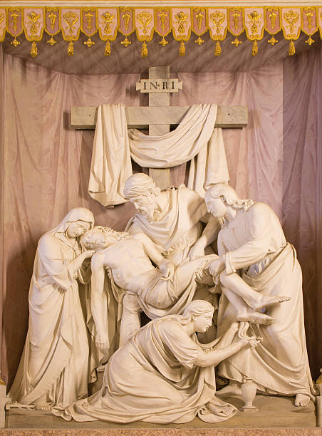 rome - the deposition of the cross marble sculpture - deposition stock pictures, royalty-free photos & images