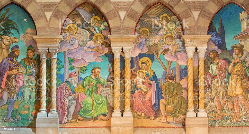 Rome - The detail of mosaic of Three Magi stock photo