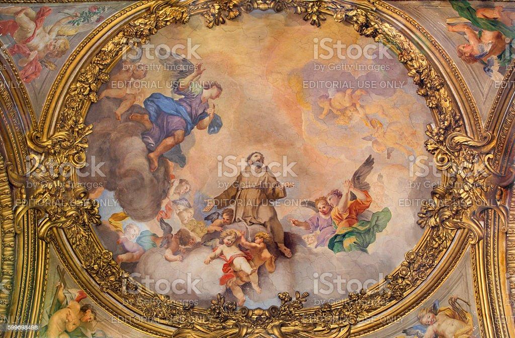 Rome - The fresco Apotheosis of St. Francis of Assisi stock photo