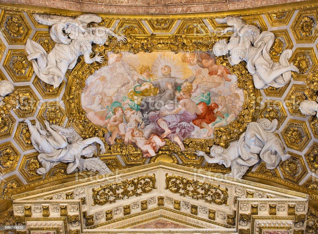 Rome - The fresco Apotheosis of Stanislaus Kostka stock photo