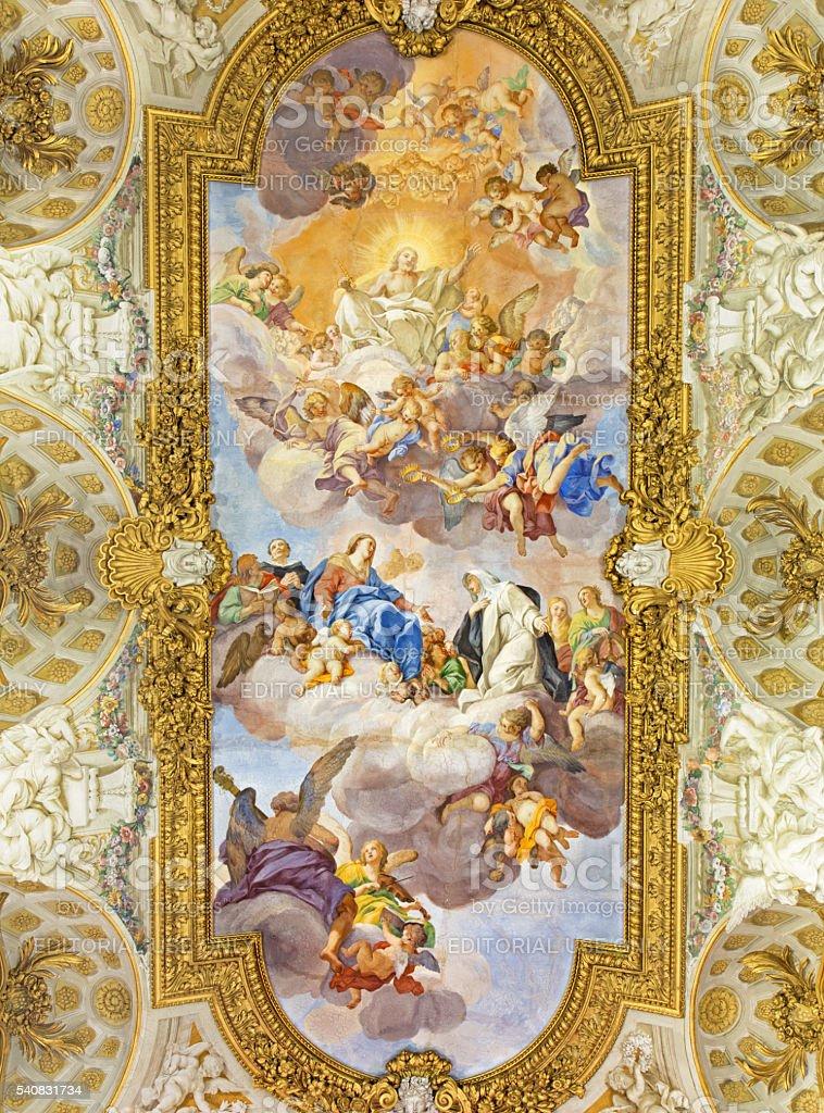 Rome - The fresco of Apotheosis of St Catherine stock photo
