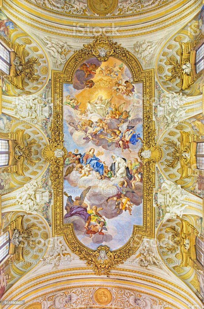 Rome - The fresco of Apotheosis of St. Catherine stock photo