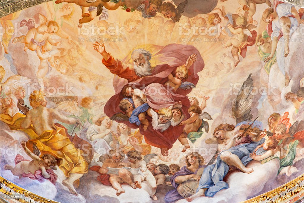 Rome - The fresco The Eternal in Glory stock photo