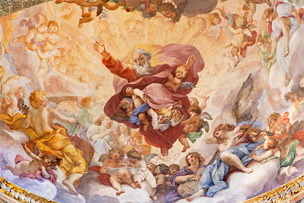rome - the fresco the eternal in glory - god stock photos and pictures