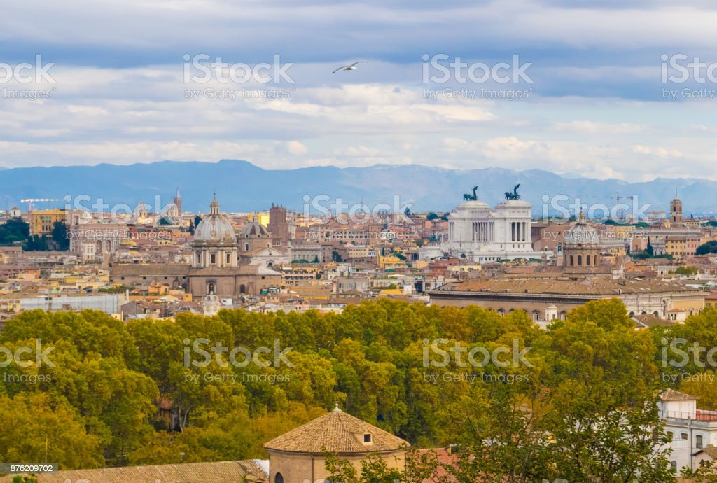 Rome (Italy) - The Janiculum hill and terrace. stock photo
