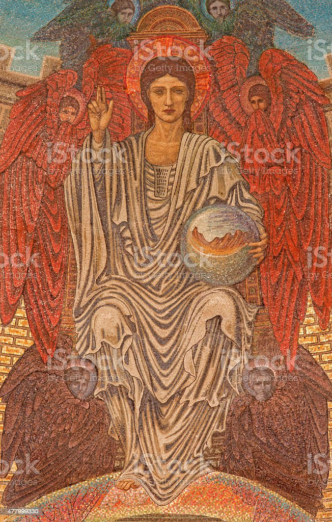 Rome - The mosaic of young Jesus Christ stock photo