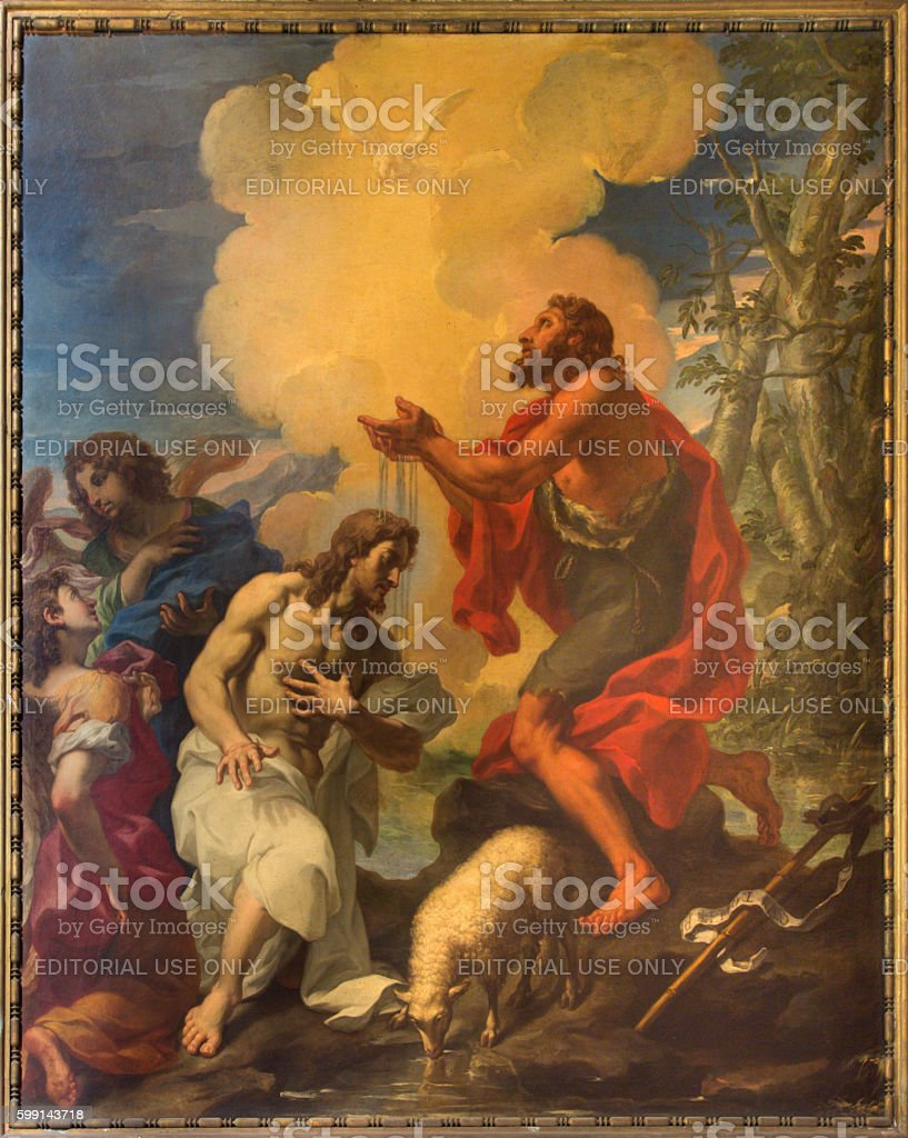 Rome - The painting Baptism of Christ stock photo