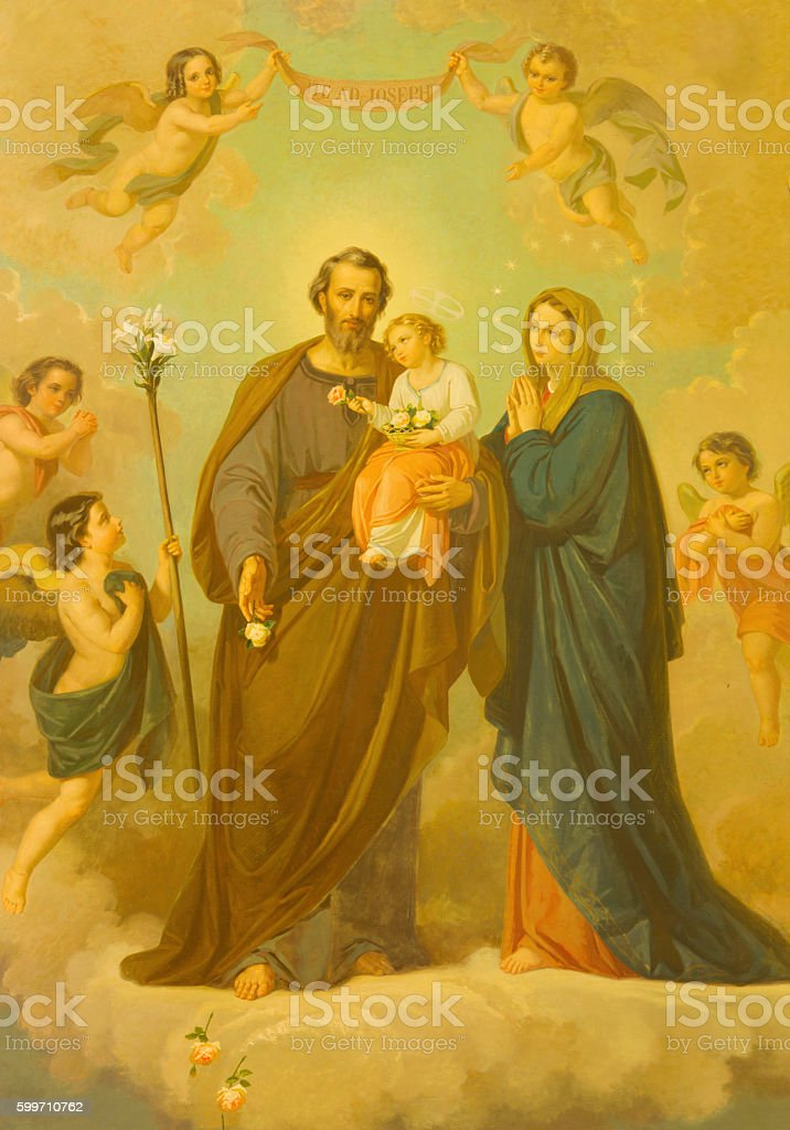 Rome - The painting of Holy Family stock photo