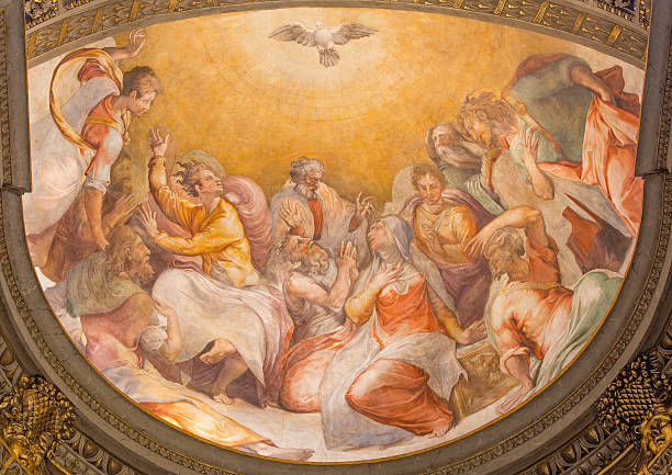 Rome - The Pentecost fresco from 16. cent. stock photo