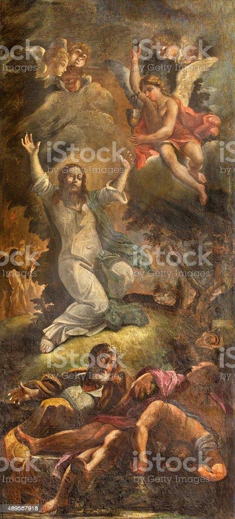 Rome - The Prayer of Jesus in Gethsemane garden. stock photo