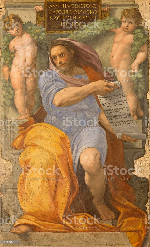 Rome - The prophet Isaiah fresco  by Raffaello stock photo