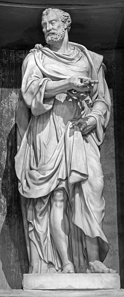rome - the sculpture of st. peter - peter the apostle stock photos and pictures