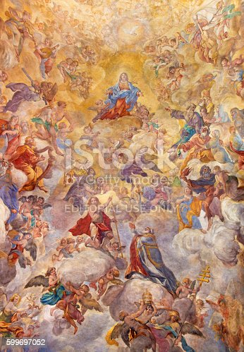 Rome, Italy - March 9, 2016: Rome - The vault fresco Assumption of Our Lady by Giacinto Brandi (1682) in church Chiesa di San Silvestro in Capite.