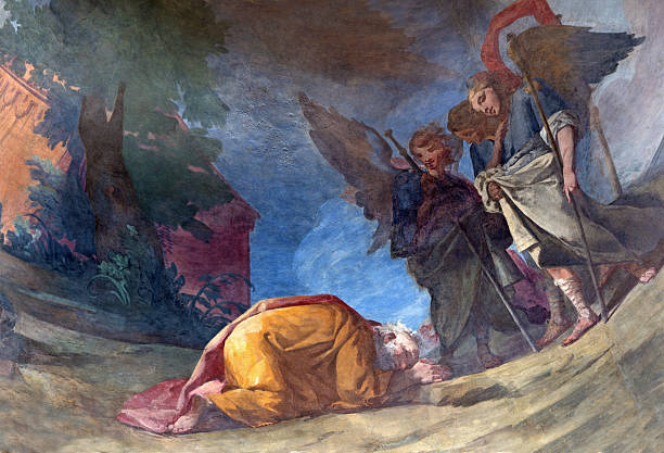 Rome - Three angels visiting Abraham fresco Rome, Italy - March 25, 2015: Three angels visiting Abraham fresco by Gonzalez Velazquez (1750) in main apse of church Chiesa della Santissima Trinita degli Spanoli. Abraham stock pictures, royalty-free photos & images