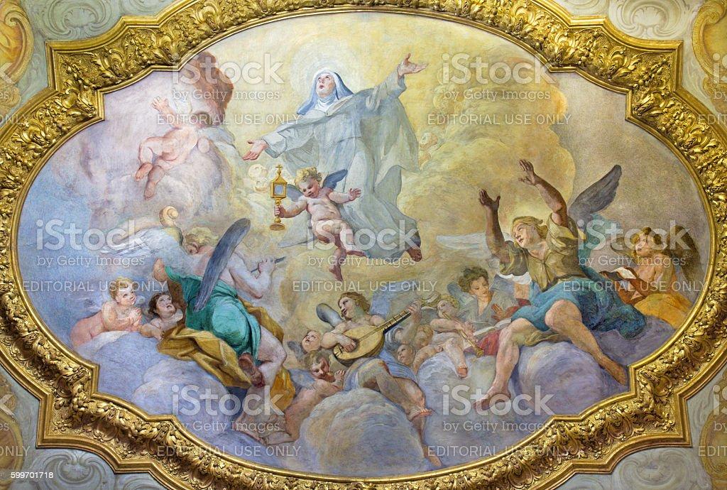 Rome - Tje ceiling fresco of Apotheosis of St. Clara stock photo