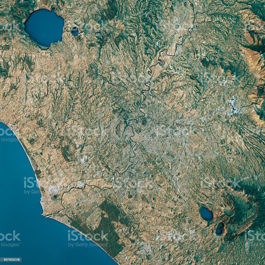 Rome Topographic Map Natural Color Top View stock photo