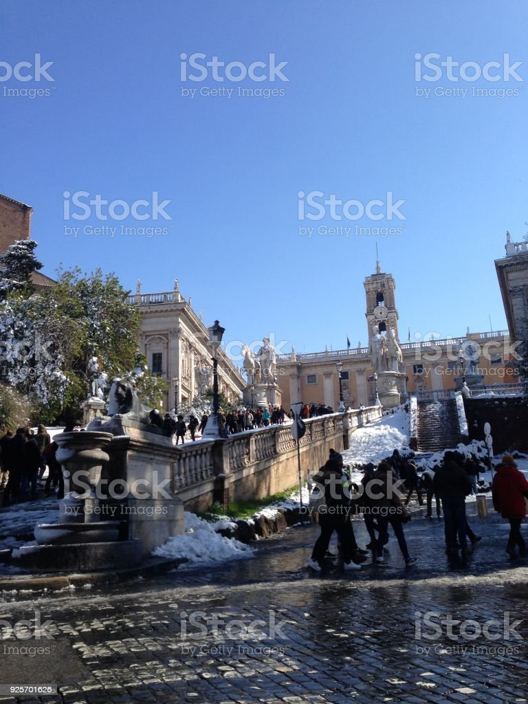 Rome under the snow stock photo