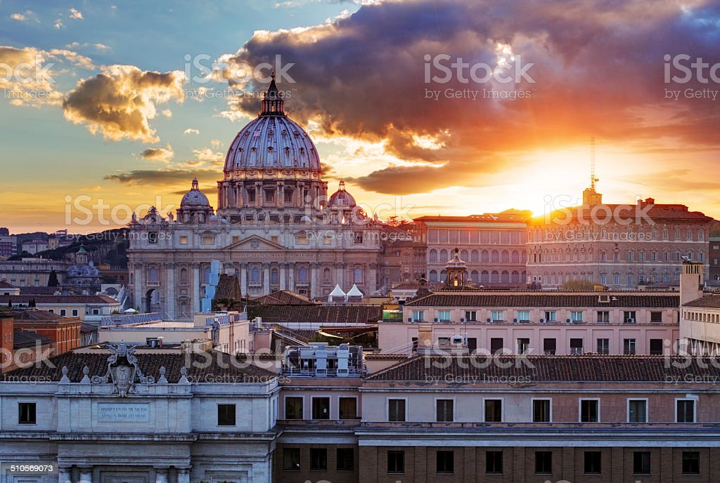 Rome, Vatican city at sunset stock photo