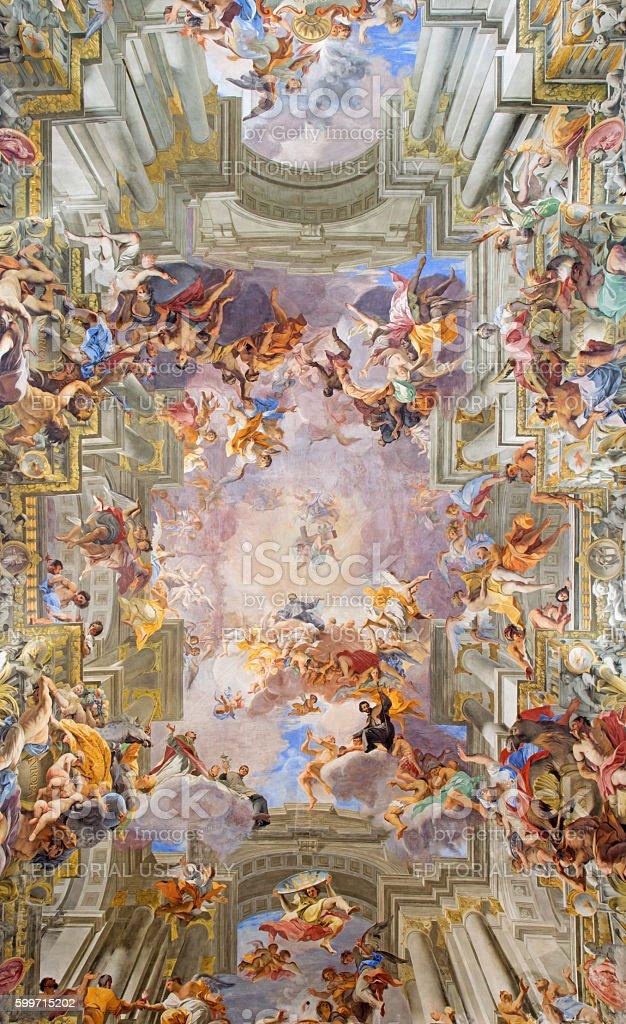 Rome - vault baroque fresco The Apotheosis of St Ignatius stock photo