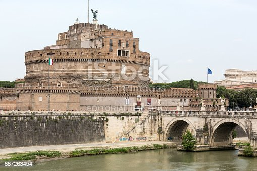 Rome, Italy - June 12, 2015:  - View of Castel Sant'Angelo, Castle of the Holy Angel built by Hadrian in Rome, along Tiber River