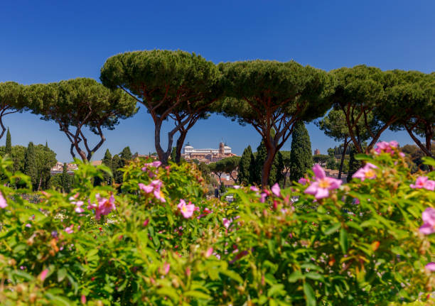 Rome. View of the city from the Aventine hill. stock photo