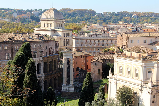 Rome, view of the Theatre of Marcellus and the Synagogue