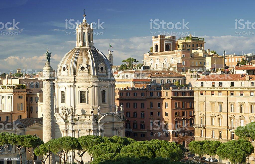 Rome view (left column of Septimius Severus) stock photo