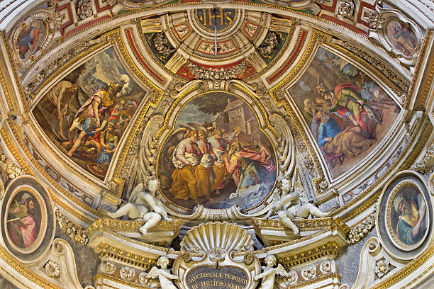 Rome -  Visitation of God by Abraham fresco in apse stock photo