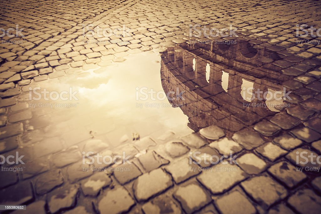 Rome Water Reflections: the Colosseum royalty-free stock photo
