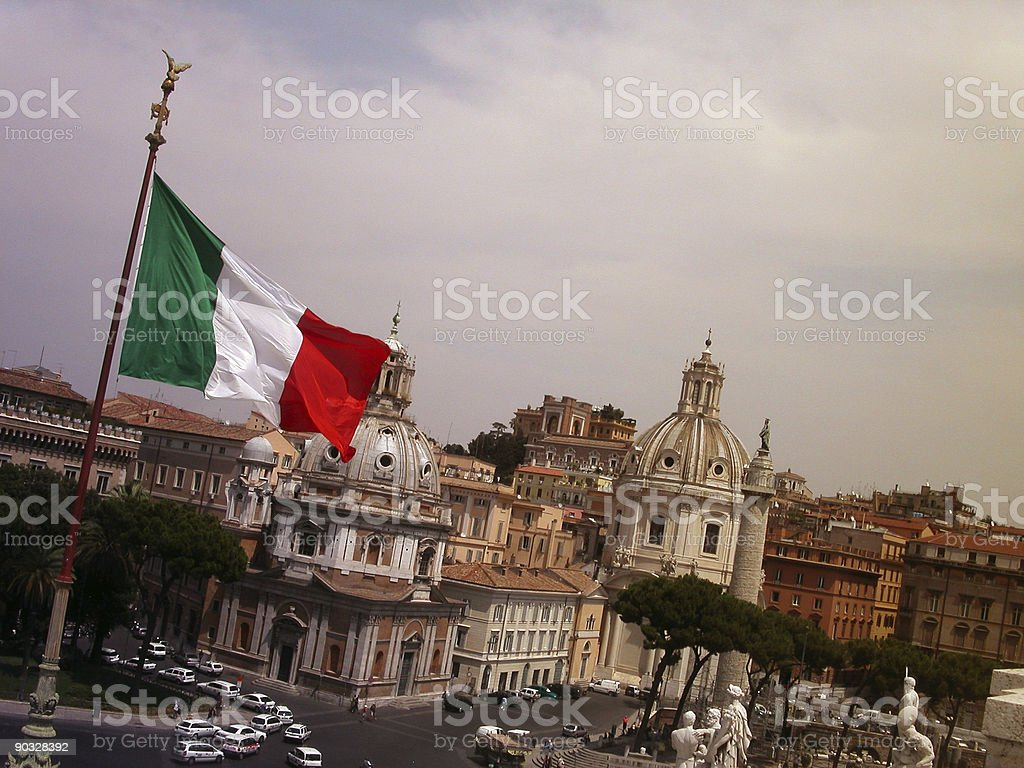rome with flag royalty-free stock photo