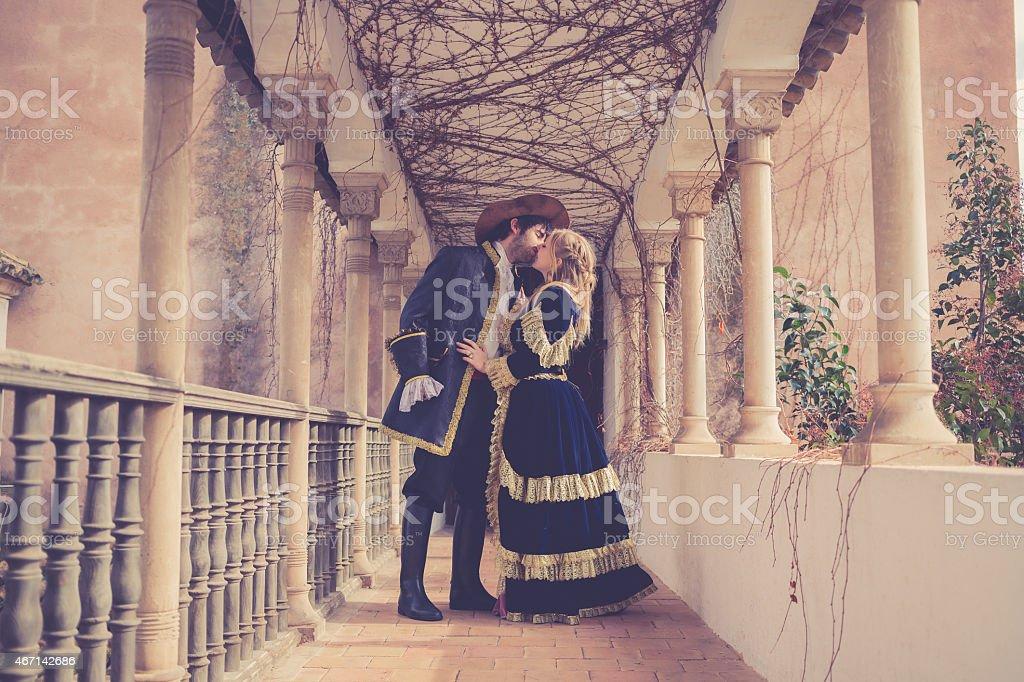 romeo and juliet kissing juliets at beautiful balcony stock photo