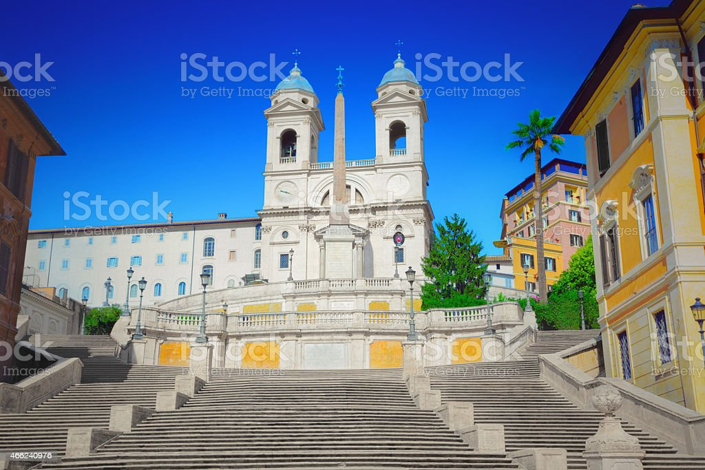 Rome's Spanish Steps on a clear day stock photo