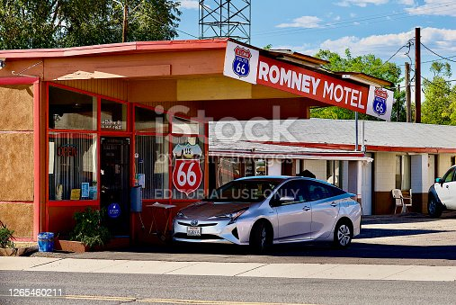 Seligman, Arizona, USA - July 30, 2020: The Romney Motel is located along historic Route 66 in the heart of Seligman, Arizona.