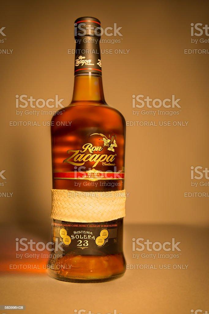 Ron Zacapa Centenario Rum Bottle stock photo