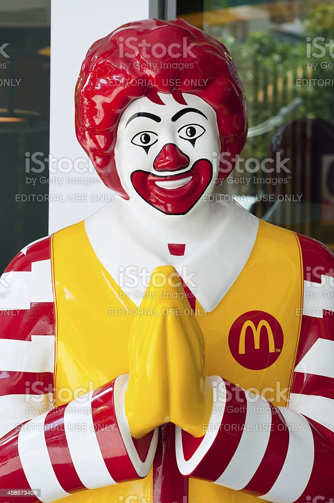 Ronald Mcdonald Praying In Thailand royalty-free stock photo